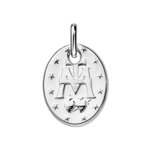 PENDENTIF ARGENT RHODIE MATE FORME OVALE
