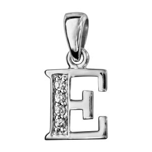 PENDENTIF ARGENT RHODIE INITIALE E PIERRES BLANCHES