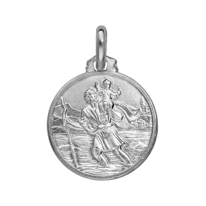PENDENTIF ARGENT RHODIE MEDAILLE ST CHRISTOPHE 16MM