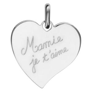 PENDENTIF ARGENT RHODIE COEUR GRAVE (Mamie je t'aime)