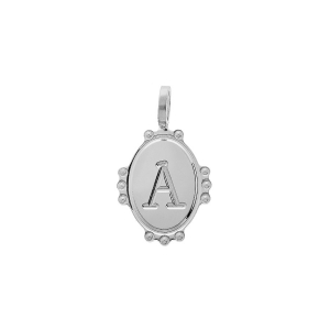 PENDENTIF ARGENT RHODIE MEDAILLE OVALE 14MM PERLÉE INITIALE A
