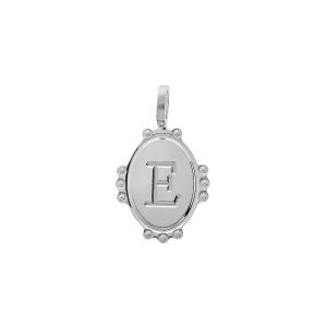 PENDENTIF ARGENT RHODIE MEDAILLE OVALE 14MM PERLÉE INITAILE E