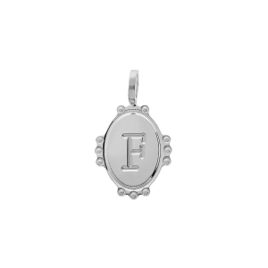PENDENTIF ARGENT RHODIE MEDAILLE OVALE 14MM PERLÉE INITIALE F