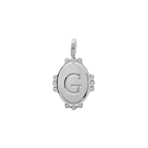 PENDENTIF ARGENT RHODIE MEDAILLE OVALE 14MM PERLÉE  INITAILE G