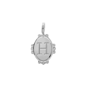 PENDENTIF ARGENT RHODIE MEDAILLE OVALE 14MM PERLÉE INITIALE H
