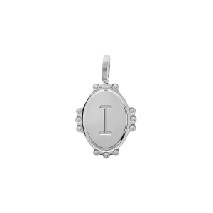 PENDENTIF ARGENT RHODIE MEDAILLE OVALE 14MM PERLÉE INITIALE I