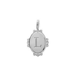 PENDENTIF ARGENT RHODIE MEDAILLE OVALE 14MM PERLÉE INITAILE L