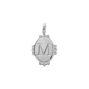 PENDENTIF ARGENT RHODIE MEDAILLE OVALE 14MM PERLÉE INITIALE M