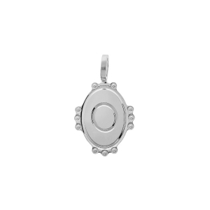 PENDENTIF ARGENT RHODIE MEDAILLE OVALE 14MM PERLÉE INITIALE O