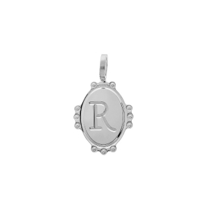 PENDENTIF ARGENT RHODIE MEDAILLE OVALE 14MM PERLÉE  INITIALE  R