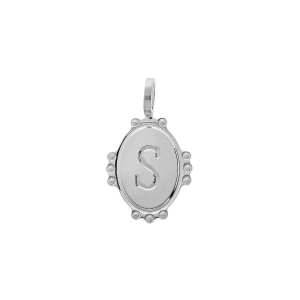 PENDENTIF ARGENT RHODIE MEDAILLE OVALE 14MM PERLÉE INITIALE  S