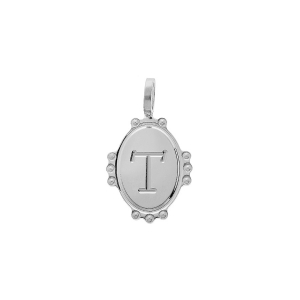 PENDENTIF ARGENT RHODIE MEDAILLE OVALE 14MM PERLÉE INITIALE T