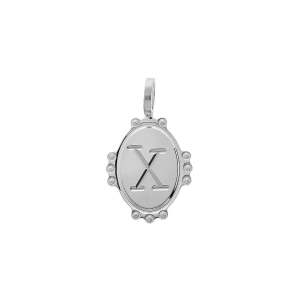 PENDENTIF ARGENT RHODIE MEDAILLE OVALE 14MM PERLÉE INITIALE  X