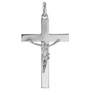 PENDENTIF JESUS SUR CROIX ARGENT RHODIE GRAND MODELE
