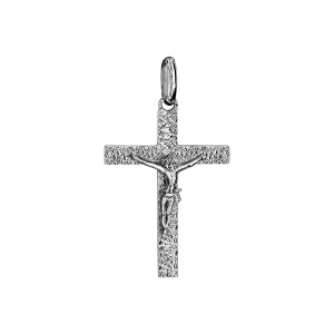 PENDENTIF ARGENT RHODIE JESUS SUR CROIX MOYEN MODELE DIAMANTE