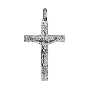 PENDENTIF ARGENT RHODIE JESUS SUR CROIX GRAND MODELE DIAMANTE