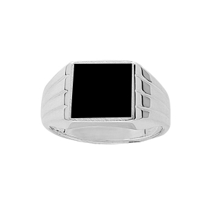 CHEVALIERE RECT. GODRONS ONYX IMITATION ARGENT .