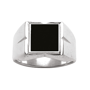 CHEVALIERE CARREE + ONYX IMITATION ARGENT