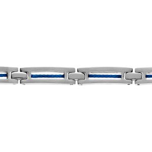BRACELET ACIER ET CABLE BLEU 19+1,5CM REGLABLE DOUBLE FERMOIR