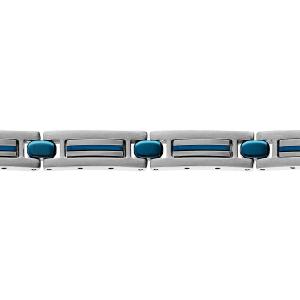 BRACELET ACIER ET PVD BLEU 19+1,5CM REGLABLE DOUBLE FERMOIR