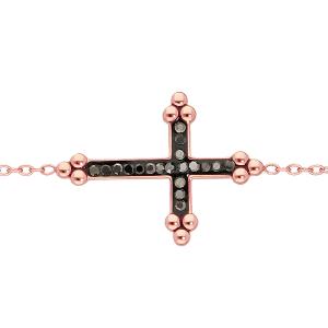 BRACELET ACIER ET PVD ROSE CROIX RESINE NOIR ET PIERRES NOIRES SYNTHETIQUE 16+3CM