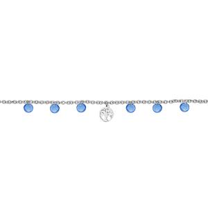 BRACELET ACIER ARBRE DE VIE PIERRES SYNTHETIQUE BLEUES 16+3CM