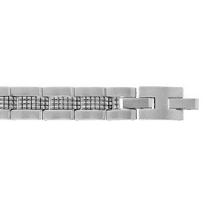 BRACELET ACIER MAT ET BRILLANT DOUBLE FERMOIR 19+1,5CM REGLABLE