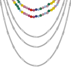 COLLIER ACIER DOUBLE RANG PIERRES SYNTHETIQUE MULTI COULEURS ET TRIPLE CHAINES 40+5CM