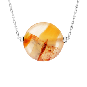 COLLIER ACIER PIERRE NATURELLE AGATE ROUGE 42+3CM  (PROTECTION & COURAGE)