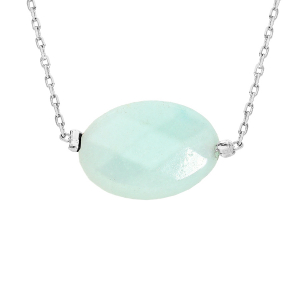 COLLIER ACIER PIERRE NATURELLE AMAZONITE 42+3CM  (TENDREDDE & POSITIVITÉ)