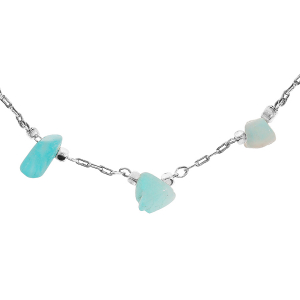 COLLIER ACIER PIERRES NATURELLES AMAZONITE 62CM REGLABLE 58