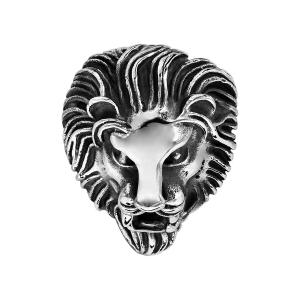 CHEVALIERE ACIER PATINE TETE DE LION
