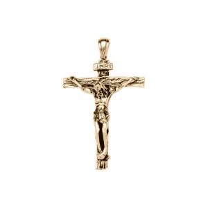 PENDENTIF ACIER ET PVD JAUNE CHRIST SUR CROIX