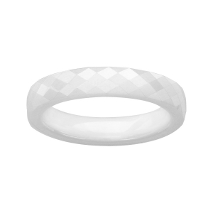 ALLIANCE 1/2 JONC 4MM CERAMIQUE BLANCHE FACETTEE