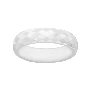 ALLIANCE 1/2 JONC 5MM CERAMIQUE BLANCHE FACETTEE