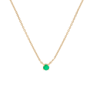 COLLIER VERMEIL CLOU EMERAUDE  VERITABLE SERTI 42+3CM