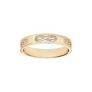 ALLIANCE RUBAN 4MM GRAVEE SYMBOLE INFINI VERMEIL