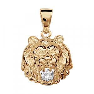 PENDENTIF VERMEIL MODELE LION PIERRE BLANCHE SYNTHETIQUE