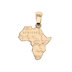 PENDENTIF CARTE AFRIQUE PLAQUÉ OR