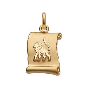 PENDENTIF ZODIAQUE PARCHEMIN LION  PLAQUÉ OR BRILLANT FOND SABLE