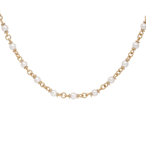 COLLIER PLAQUÉ OR PERLES BLANCHES IMITATION 40+5CM