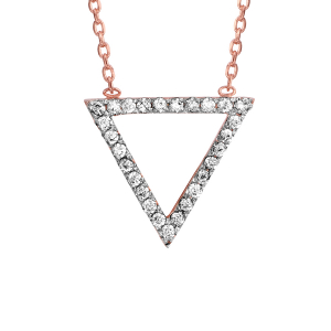 COLLIER PLAQUÉ OR ROSE FORME TRIANGLE OXYDES BLANCS SERTIS 39+3CM