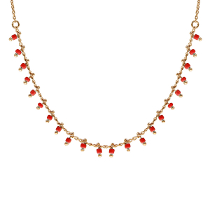 COLLIER PLAQUÉ OR PAMPILLES BOULES CORAIL SYNTHETIQUE 42CM