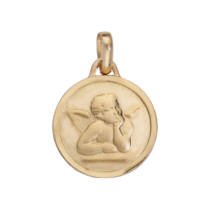 MEDAILLE RONDE AVEC ANGE PLAQUÉ OR