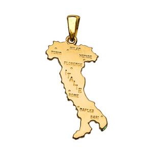 PENDENTIF GRANDE CARTE DE L'ITALIE PLAQUÉ OR