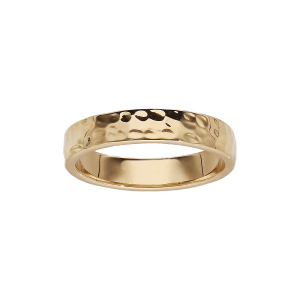 BAGUE PLAQUÉ OR STYLE ALLIANCE MARTELEE