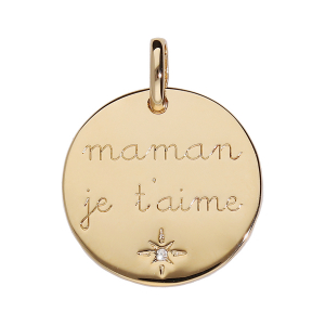 PENDENTIF PLAQUÉ OR MEDAILLE MAMAN JE T'AIME 1 OXYDE BLANC SERTI