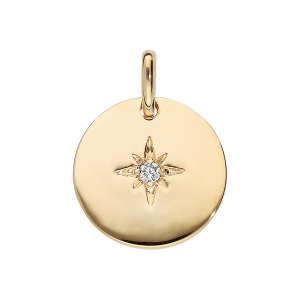 PENDENTIF PLAQUÉ OR ROND 15MM  ETOILE OXYDE BLANC SERTI