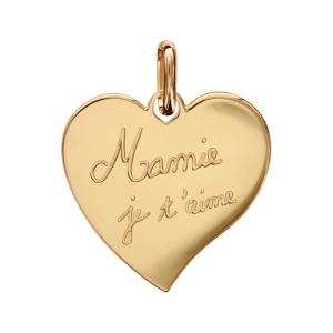 PENDENTIF PLAQUÉ OR COEUR GRAVE (Mamie je t'aime)