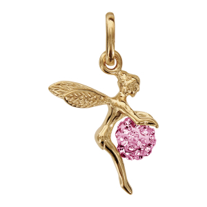 PENDENTIF PLAQUÉ OR FEE BOULE STRASS ROSE